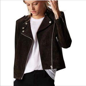NWT BLANK NYC Suede Moto Jacket in Dark Chocolate